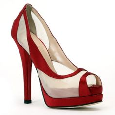 Red and White Mesh Peep Toes from Fendi