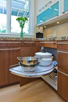drawer pull, lazy susan, kitchen storage, kitchen corner, corner cabinets, corner shelves, modern kitchens, design, kitchen cabinets