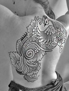 Done by Alex Sabur of Low Tide Studio in Maryland. Mehndi Peacock design.