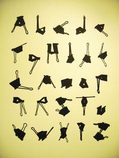 Alphabet via binder clips