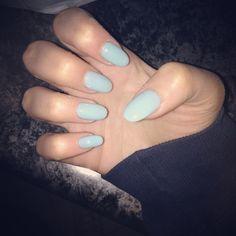 Light blue nails oval shape