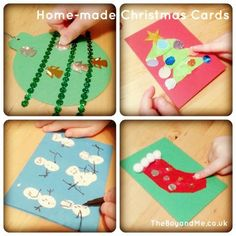 Home-made christmas cards - perfect for pre-schoolers. (Uses felt, paint, sequins, card, glue & scissors)