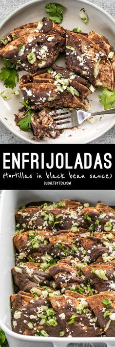 Enfrijoladas are an easy, flavorful, and customizable recipe based on corn tortillas drenched in a spicy black bean sauce. BudgetBytes.com