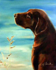 Mary Sparrow Smith from Hanging the Moon – dog art, pets, portrait, paintings, gift ideas, home decor. Chocolate Labrador Retriever.