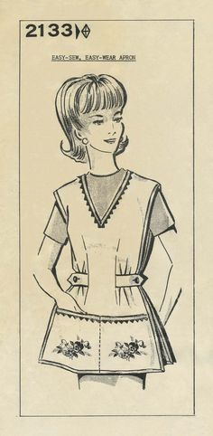 "Vintage Apron Sewing Pattern | Mail Order 2133 | Envelope postmarked August 21, 1973 | Size 18 and perforated for Sizes 16 and 14 | Pattern states ""It perks up the spirit when wearing an attractive apron on kitchen-duty. You'll find this one simple to sew and easy to launder."" vintag apron, apron sew, sew pattern, pattern state, sewing patterns"