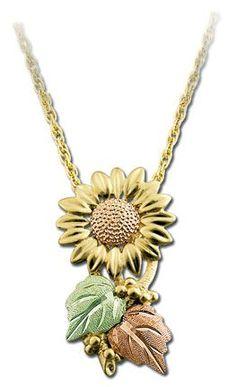 Black Hills Gold Sunflower Necklace
