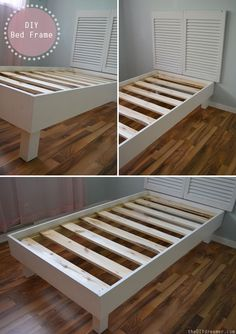 DIY Bed frame.  Love the idea of just putting the headboard on the wall so it is snug against the wall.  I ovule want. Little more more of a lip to tuck bedding into for a tidy look.
