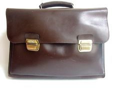 vtg FRENCH SATCHEL  brown leather / briefcase / by lesclodettes, $65.00