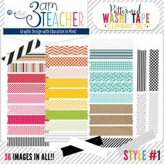 36 brightly patterned Washi Tape Graphics Set by The 3AM Teacher!! $