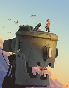 640x814_21113_Almost_there_2d_sci_fi_robot_sky_sunset_kids_picture_image_digital_art