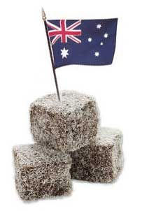 Lamingtons.  Australia's national dessert.  I first tried Lamingtons with my girl scout troop when we represented Australia for Thinking Day.