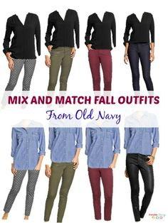 Mix and Match Fall outfits from Old Navy. See how you can mix and match the same tops and pants to create many outfits.