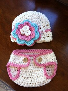Crochet Pink Hat and Diaper Cover Set Newborn