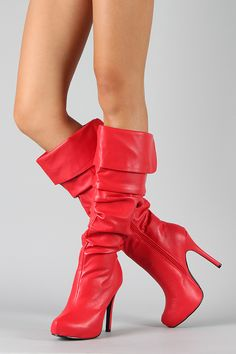 Texas Leatherette Slouchy Knee High Stiletto Boot