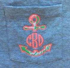 Anchor Monogram Shirt-Sleeve Monogram with Lilly Pullitzer fabric pocket tee on Etsy, $20.00