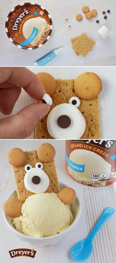 Dreyer's Ice Cream Bear: Gather the family for this bear-y delicious kid-friendly activity that's as fun to make as it is to eat! Fill bowls with vanilla ice cream, and then build your bear with graham cracker for the head, marshmallow and chocolate chips for the nose, candy eyes, and mini vanilla wafers for the paws and ears.