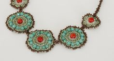 Beaded Necklace Turquoise & Coral swarovski crystals by TamarKeny, $95.00