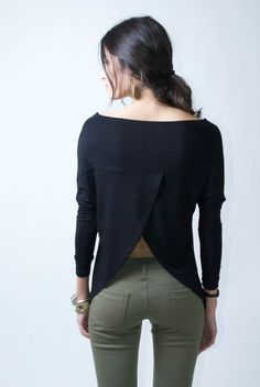 Oversize Women's Blouse / Top Tunic / Long Sleeve Top / Sexy Top / Open Back Blouse