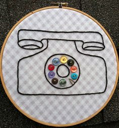 Vintage Phone and Button Embroidery Hoop Art by HeyPaulStudios, $32.00