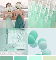 {Party Palette}: Shades of Teal + Mint mint green, color palettes, color combo, bridesmaid dresses, color pallets, wedding colors, mint weddings, colour palettes, parti