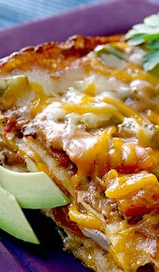 Enchilada Lasagna - It's our classic one-dish wonder. This Mexican casserole is like a big fat lasagna, with layers of tortillas instead of the traditional noodles. And it's so much simpler than rolling up individual tortillas.