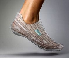 3D Printed Shoe. Alex Diener & Pensar wish to cre­ate footwear con­form­ing to our indi­vid­ual anato­my and using bio­me­chan­ics as the foun­da­tion. The DNA con­cept lever­ages rapid man­u­fac­tur­ing to cre­ate a shoe built to our foot con­tours.