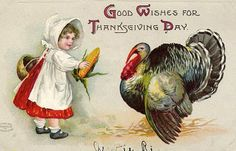 Child with turkey holiday, vintage postcards, vintag postcard, fall, vintag thanksgiv, thanksgiv vintag, thanksgiving cards, turkey, thanksgiv postcard