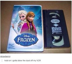 "Apparently Disney still makes money from selling VHS copies in 2014. It's a brave old world. | This Is The Most Baffling ""Frozen"" Photo"