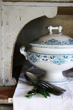 beautiful blue & white soup tureen