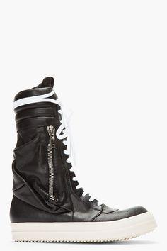 black tall, cargobasket leather, leather sneaker, men shoes, sneakers, owen black, boots, sneaker boot, rick owens