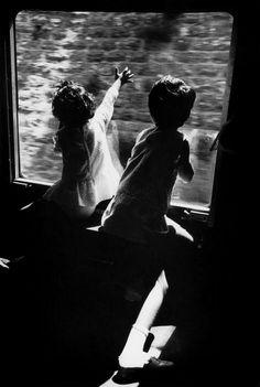 children enjoying a train ride to jerusalem, 1970