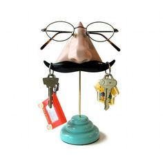 Nose Eyeglass Stand with Key Hook Mustache