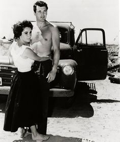 """Elizabeth Taylor & Rock Hudson in """"Giant"""" - 1956 (look how she's standing on the top of his feet...what a great friendship)"""