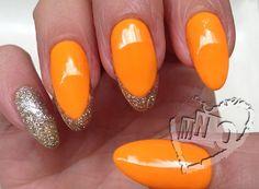 #almond nails #orange &gold