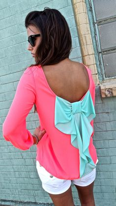 pink and turquoise bow shirt