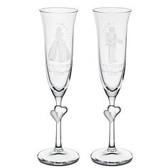 Personalizable Cinderella and Prince Charming glass flute set by Arribas #Disney #Cinderella