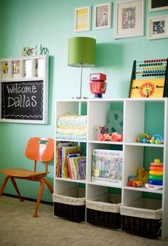 storage, gallery wall, chalkboard with hooks.