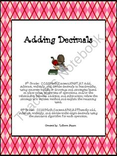Adding Decimals from Math From My Angle on TeachersNotebook.com -  (4 pages)  - This is file is a printable on adding decimals.  I use it as a review for my students.