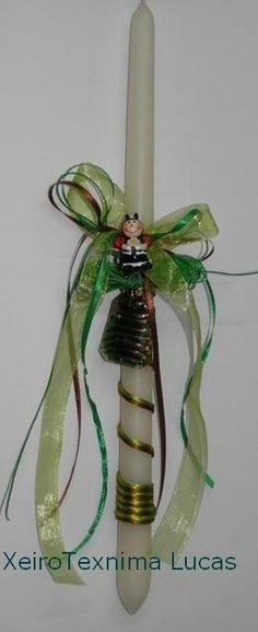 Πασχαλινή λαμπάδα με κολιέ τύπου μουράνο σε πράσινες αποχρώσεις
