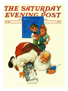 """""""Santa and the Robot"""" By Scott Gustafson. Issue: December 1, 1983. ©SEPS. Giclee print available at Art.com."""