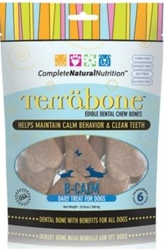 Lavender and Chamomile are well known for their natural soothing properties and we thought, let's help dog parents with two issues: clean teeth and calming. Terrabone B-Calm is the world's healthiest and safest edible dental chew bone for dogs with the extra benefits of helping support dogs who are stressed and over anxious. Terrabone B-Calm works ideally with Complete Natural Nutrition's Calm liquid supplement. www.fortailsonly.com/annsavesus