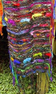 Woven SaoriStyle shawl  woven with my art yarn as weft and habu stainless steel/silk as warp