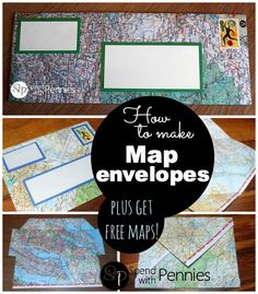 How to make map envelopes (plus where to get tons of maps mailed to you for free) !  This is a great summer project for kids to teach them to read maps, legends and more!