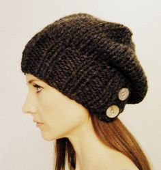 Women's slouch hat with buttons. The Salt City slouch hat in Charcoal on Etsy, $38.00