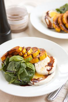 Winter Caprese Salad with Caramelized Delicata Squash. Use tofu to make it vegan. See daily garnish.com
