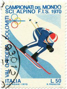 1970 Italian Stamp - Alpine Ski World Championships #Dolomiti #Dolomites #Dolomiten #Dolomitas #DolomitiUNESCO