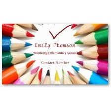 Colorful Pencils Teachers Business Card #business #cards #businesscards