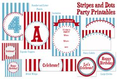 Stripes and Dots {FREE} #Party #Printable Set from Sweet Rose Studio