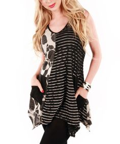 Look at this #zulilyfind! Black & White Patchwork Tunic by Aster #zulilyfinds