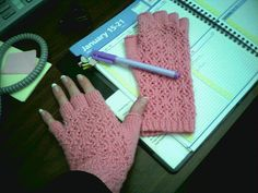 Lace fingerless gloves, office style! by squeakyweasels, via Flickr